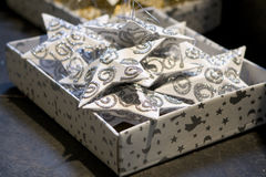 Christmas Decoration. Christmas series: Decoration stars in the box stock photo