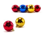 Christmas decoration. Colorful christmas balls on white Stock Images
