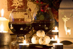 Christmas decoration. With gift, wine and candles Stock Images