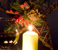 Christmas decoration. With gift, wine and candles Stock Photos