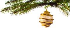 Christmas Decoration. Some golden christmas decoration isolated on white Stock Photos