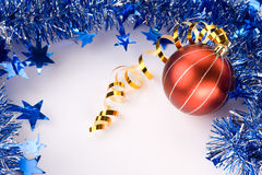 Christmas Decoration. Christmas baubles and Blue Christmas Border Royalty Free Stock Photo