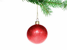 Christmas decoration. Red glass ball Stock Photo