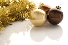 Christmas Decoration. Three christmas balls isolated over a white background stock images