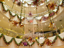 Christmas decoration. Hanging from the walls and ceiling of the shopping mall Stock Photography