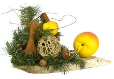 Christmas decoration. Some christmas decoration stuff on the piece of wood Stock Photos