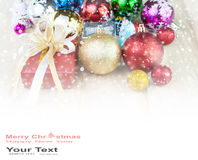 Christmas decoration abstract background. Christmas ball and gift on wood table decoration abstract background stock images