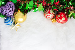 Christmas decoration on abstract background.red ornament, golden Stock Image