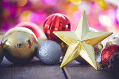 Christmas decoration on abstract bokeh Royalty Free Stock Photography
