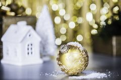 Christmas decoration on abstract gold background, close up stock photo