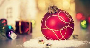 Christmas decoration on abstract gold background, close up stock image