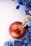 Christmas Decoration + Add Text. Christmas baubles and Blue Christmas Border Royalty Free Stock Photography