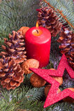 Christmas decoration with advent candle Stock Photo
