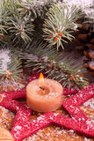 Christmas decoration with advent candle Royalty Free Stock Photography