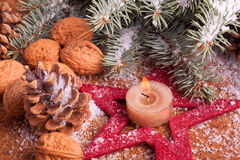 Christmas decoration with advent candle Royalty Free Stock Images