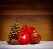 Christmas decoration and advent candle. Royalty Free Stock Photos