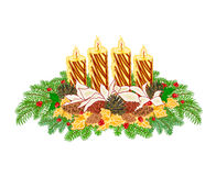 Christmas decoration Advent wreath with pine cones vector Royalty Free Stock Photography