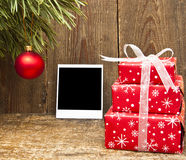 Christmas Decoration And Old Photo Royalty Free Stock Photo