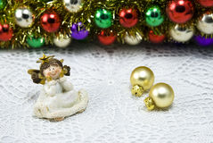 Christmas Decoration Angel Figurine. Christmas decoration angel with colorful baubles Royalty Free Stock Images