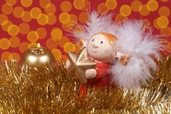 Christmas decoration, Angel and flare of light. Christmas decoration , Angel and flare of light royalty free stock image