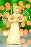 Christmas decoration, angel made of straw Royalty Free Stock Images