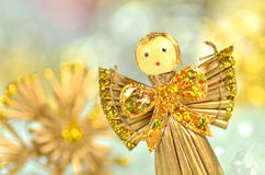 Christmas decoration, angel made of straw and boke Stock Photos