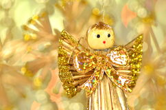 Christmas decoration, angel made of straw and bokeh Royalty Free Stock Photo
