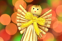 Christmas decoration, angel made of straw Royalty Free Stock Photos