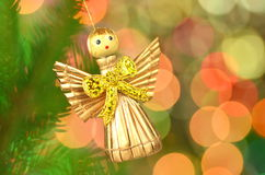 Christmas decoration, angel made of straw Royalty Free Stock Photography