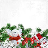 Christmas decoration with angel on white textured paper Stock Photos