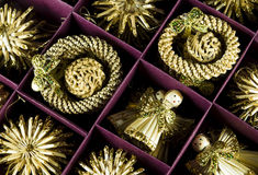 Christmas Decoration Angels. In a purple box Royalty Free Stock Photo