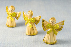 Christmas Decoration Angels. Arranged on light blue decor background Stock Photo