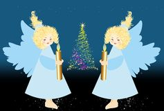 Christmas decoration with angels, Royalty Free Stock Photography