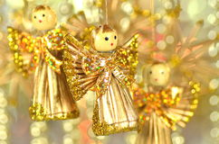 Christmas decoration, angels made of straw and bokeh Royalty Free Stock Photo