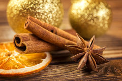 Christmas decoration, anise, cinnamon and  dried orange on wood background Royalty Free Stock Photo