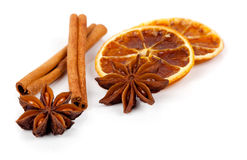 Christmas decoration of anise, orange and cinnamon Stock Photos