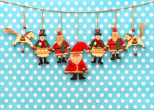 Christmas decoration with antique hand made wooden toys Royalty Free Stock Photo