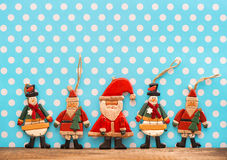Christmas decoration with antique handmade wooden toys Royalty Free Stock Image