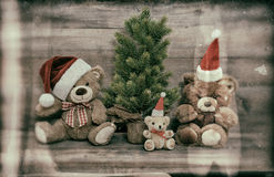 Christmas decoration with antique toys teddy bear family Stock Photography