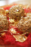 Christmas decoration apples. Christmas decoration goold apples, flashy stock image