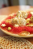 Christmas decoration apples. Christmas decoration goold apples, flashy stock photos