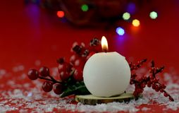 Christmas decoration with aromatic candles royalty free stock photo