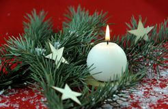 Christmas decoration with aromatic candles royalty free stock photography