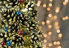 Christmas Decoration Background. Christmas Tree Decorations Background with Light Reflections Royalty Free Stock Images