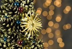 Christmas Decoration Background. Christmas Tree Decorations Background with Light Reflections Stock Image