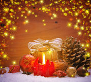 Christmas decoration background with advent candle . Stock Image