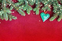 Closeup of Christmas card concept with tree decorations royalty free stock image