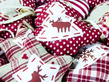 Christmas decoration background deer and hearts. Christmas decoration background red deer and hearts Royalty Free Stock Photography