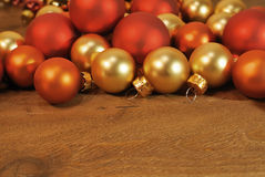 Christmas decoration background with empty wooden table with christmas balls Stock Photography