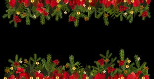 Christmas decoration background with golden stars and poinsetta Royalty Free Stock Photography